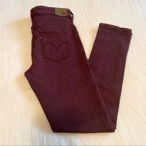 Levi's High Rise Burgundy Skinny Jeans 28 x 32